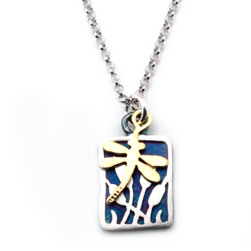 Dragonfly Accent Charm On Cattail Sterling Silver Pendant Necklace - Kevin N Anna