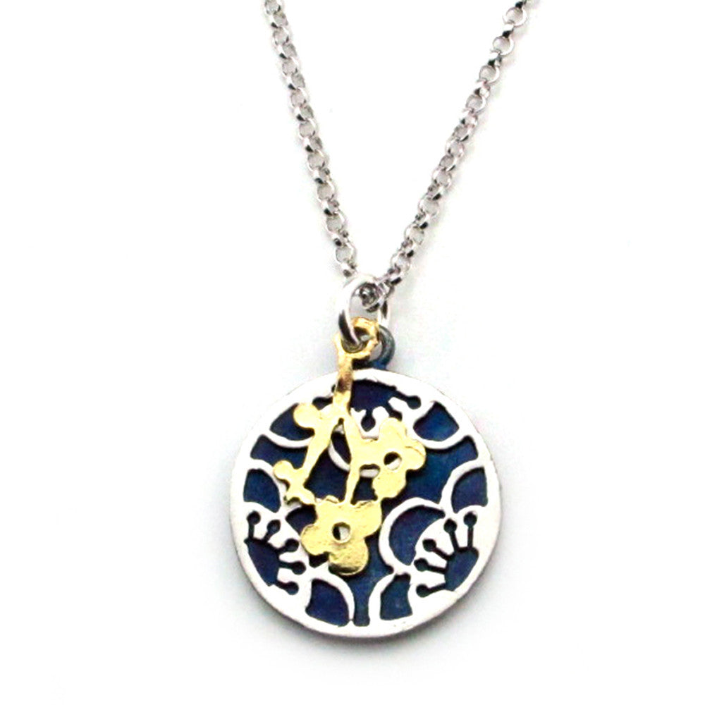 Flower Accent Charm On Cherry Blossom Sterling Silver Pendant Necklace - Kevin N Anna