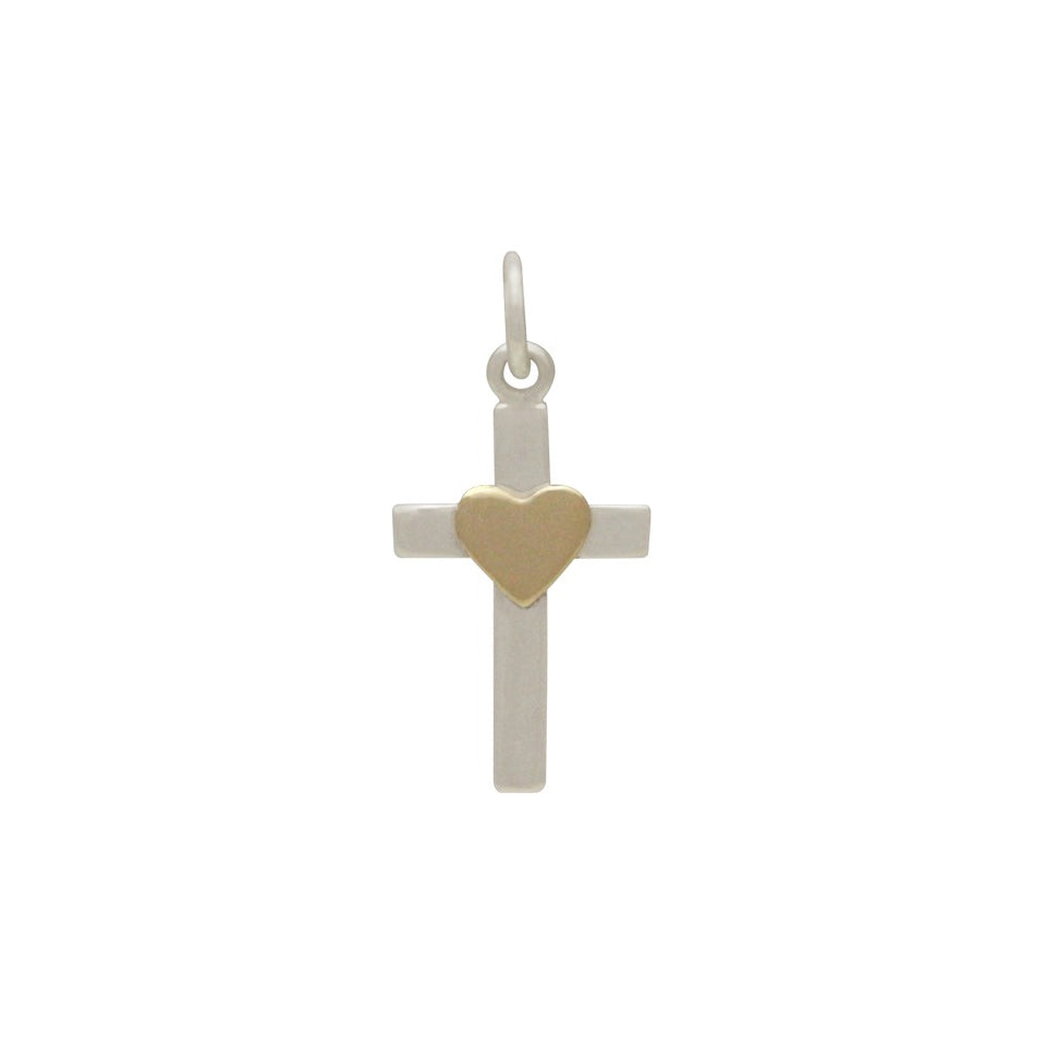 Cross Charm with Bronze Heart-3119 - Kevin N Anna
