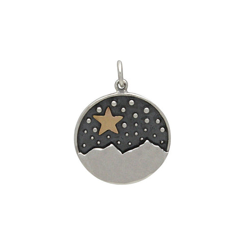 Heart Charm with Mountains and Bronze Moon-6085