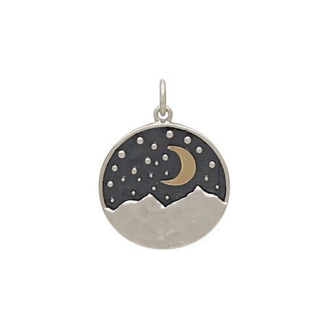 Oval Mountain Pendant with Trees and Moon-3222