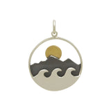 Mountain and Ocean Pendant with Bronze Sun-Large-3192 - Kevin N Anna