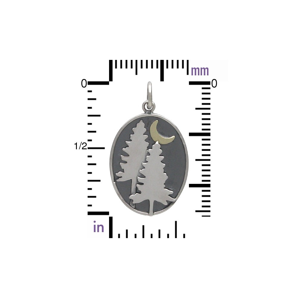 Pine Tree Charm with Bronze Moon-3206 - Kevin N Anna