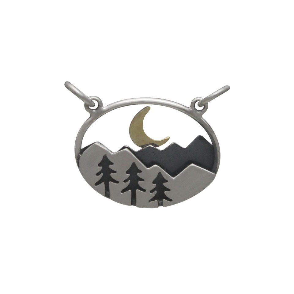 Oval Mountain Pendant with Trees and Moon-3222 - Kevin N Anna