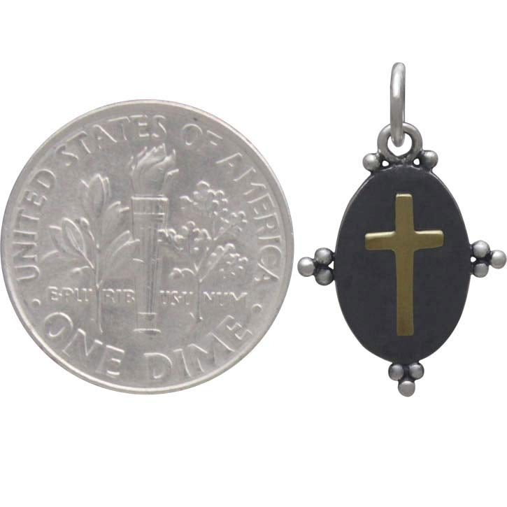 Oxidized Cross Charm with Bronze Cross-3331 - Kevin N Anna