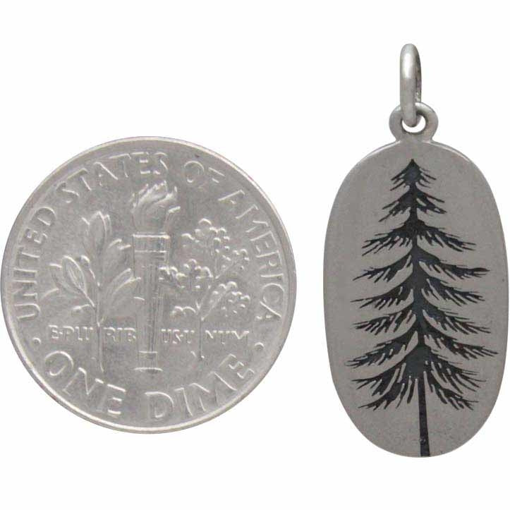 Pine Tree Charm Etched on an Oval-4030 - Kevin N Anna
