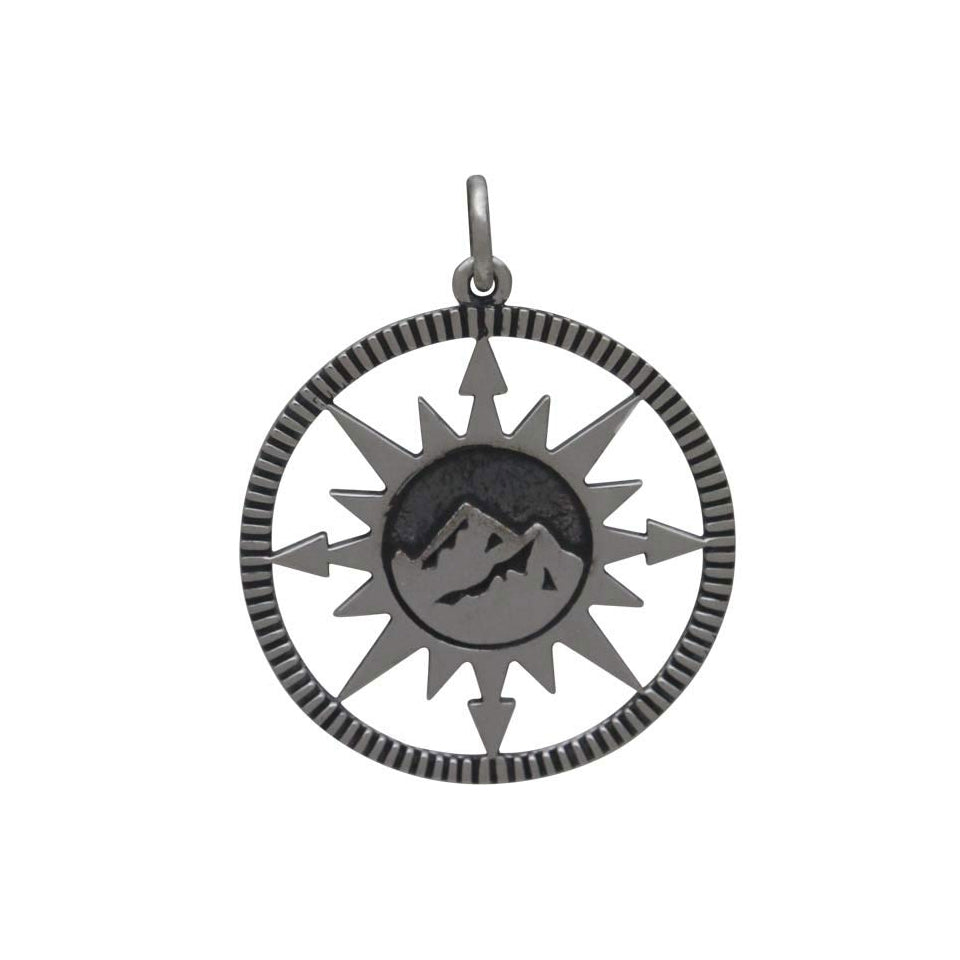 Compass Pendant with Mountain Center-4046 - Kevin N Anna