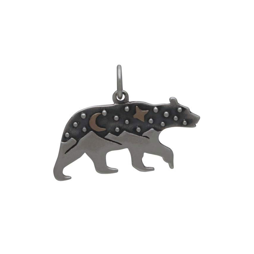 Bear Charm with Bronze Star and Moon-6084 - Kevin N Anna