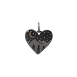 Heart Charm with Mountains and Bronze Moon-6085 - Kevin N Anna