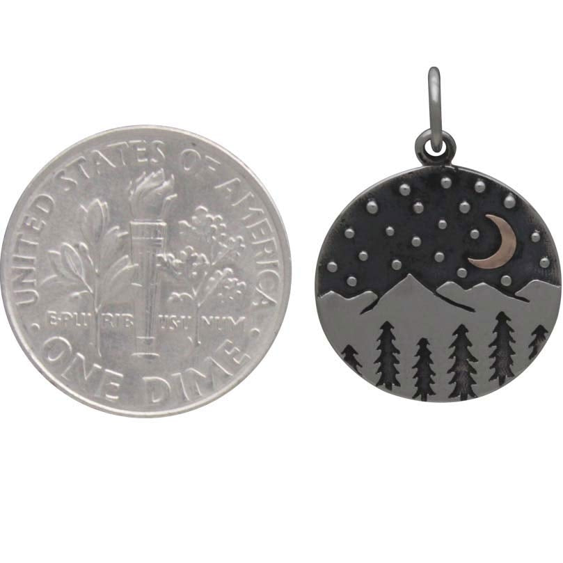 Mountain Charm with Trees and Bronze Moon-6086 - Kevin N Anna