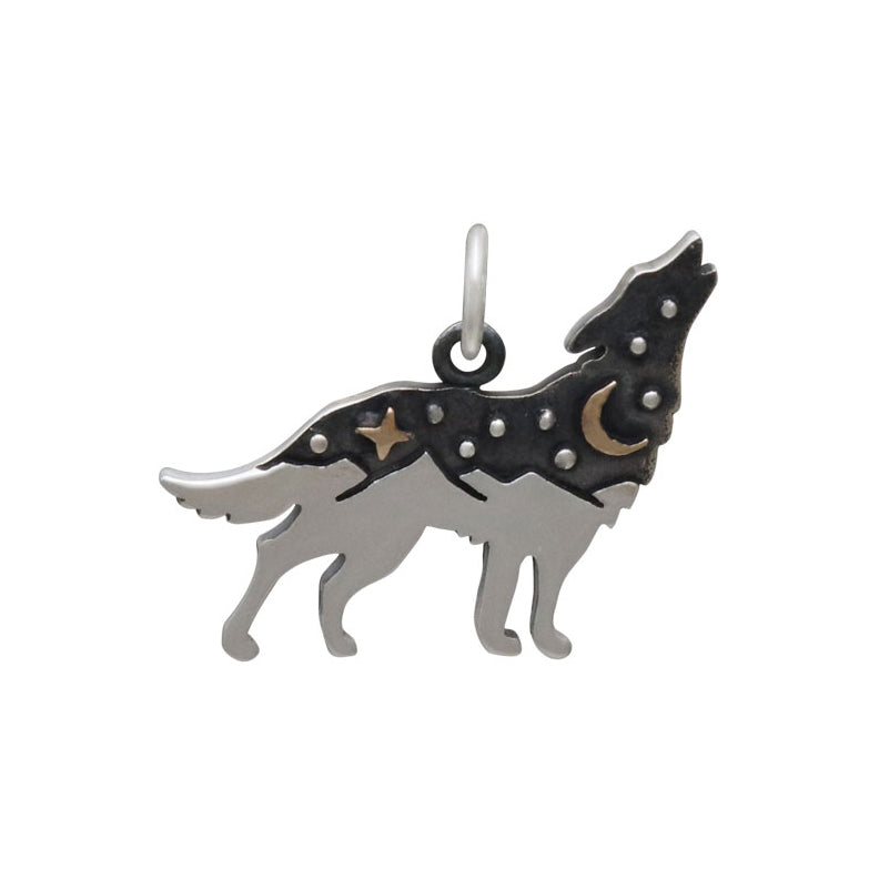 Wolf Charm with Bronze Star and Moon-6236 - Kevin N Anna