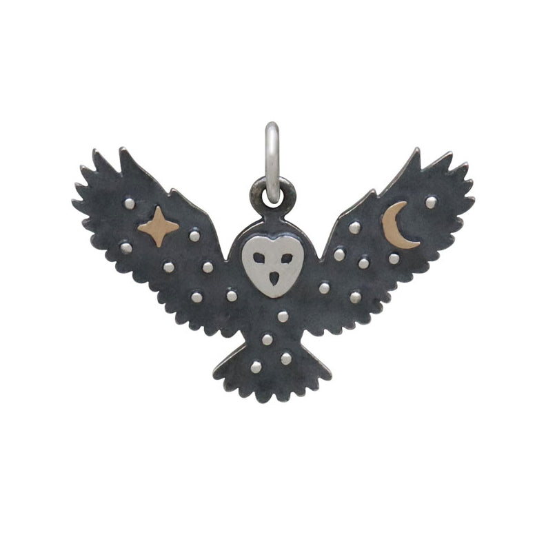 Owl Charm with Bronze Star and Moon-6245 - Kevin N Anna