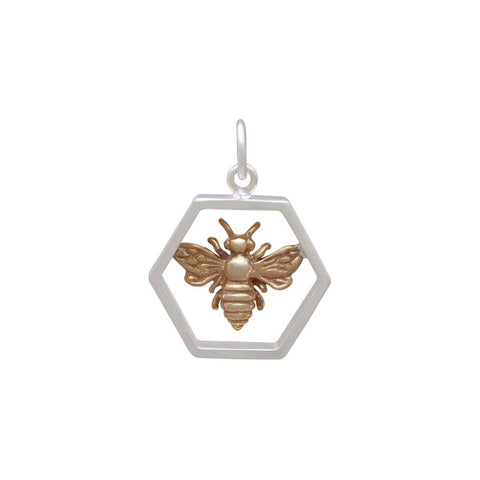 Honeycomb Pendant with Bronze Bee-6287