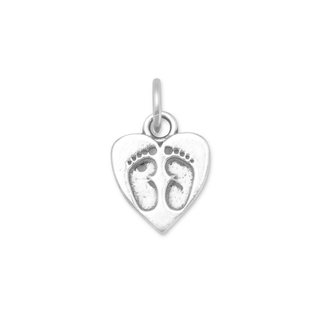 Heart Charm with Baby Footprints-73044 - Kevin N Anna