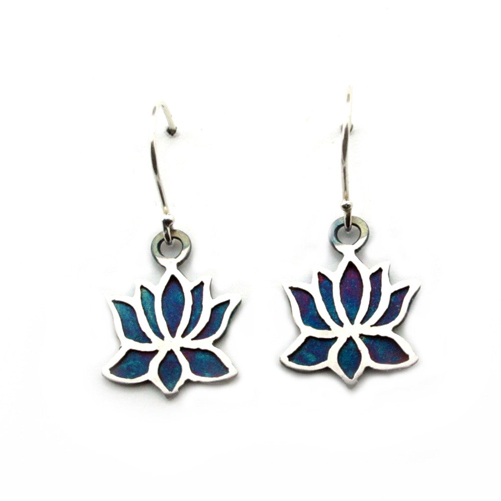 Lotus Sterling Silver Earrings (Multi Color Patinated) - Kevin N Anna