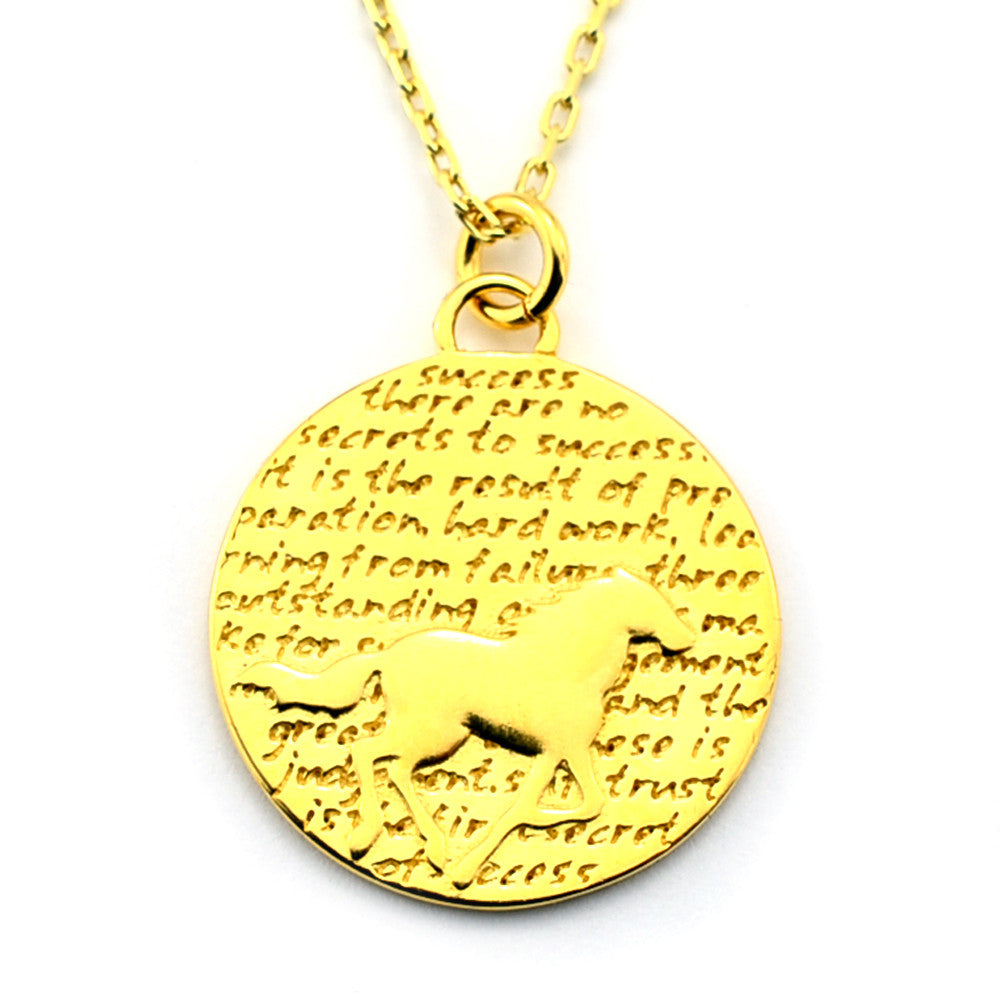 Horse Gold Vermeil Sterling Silver Large Pendant Necklace (Success quote) - Kevin N Anna