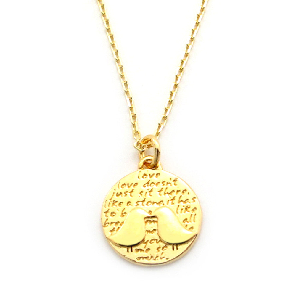 Kissing Birds Gold Vermeil Sterling Silver Small Pendant Necklace (Love quote) - Kevin N Anna