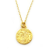 Spiral Gold Vermeil Sterling Silver Small Pendant Necklace (Courage quote) - Kevin N Anna