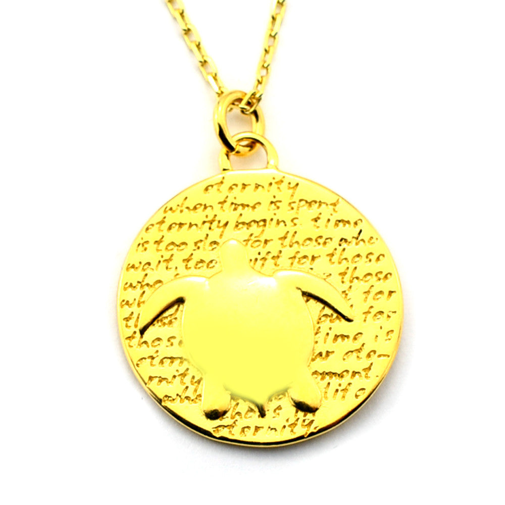 Turtle Gold Vermeil Sterling Silver Large Pendant Necklace (Eternity quote) - Kevin N Anna