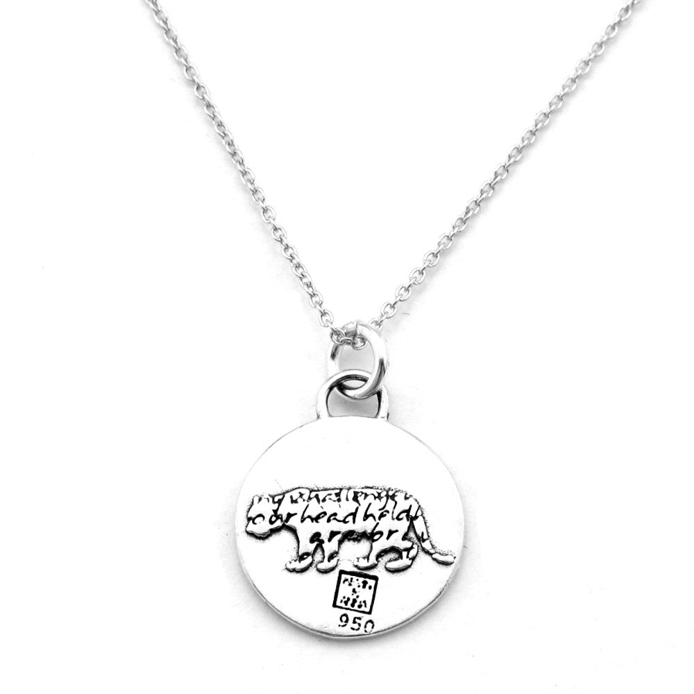 Tiger Sterling Silver Small Pendant Necklace (Strength quote) - Kevin N Anna