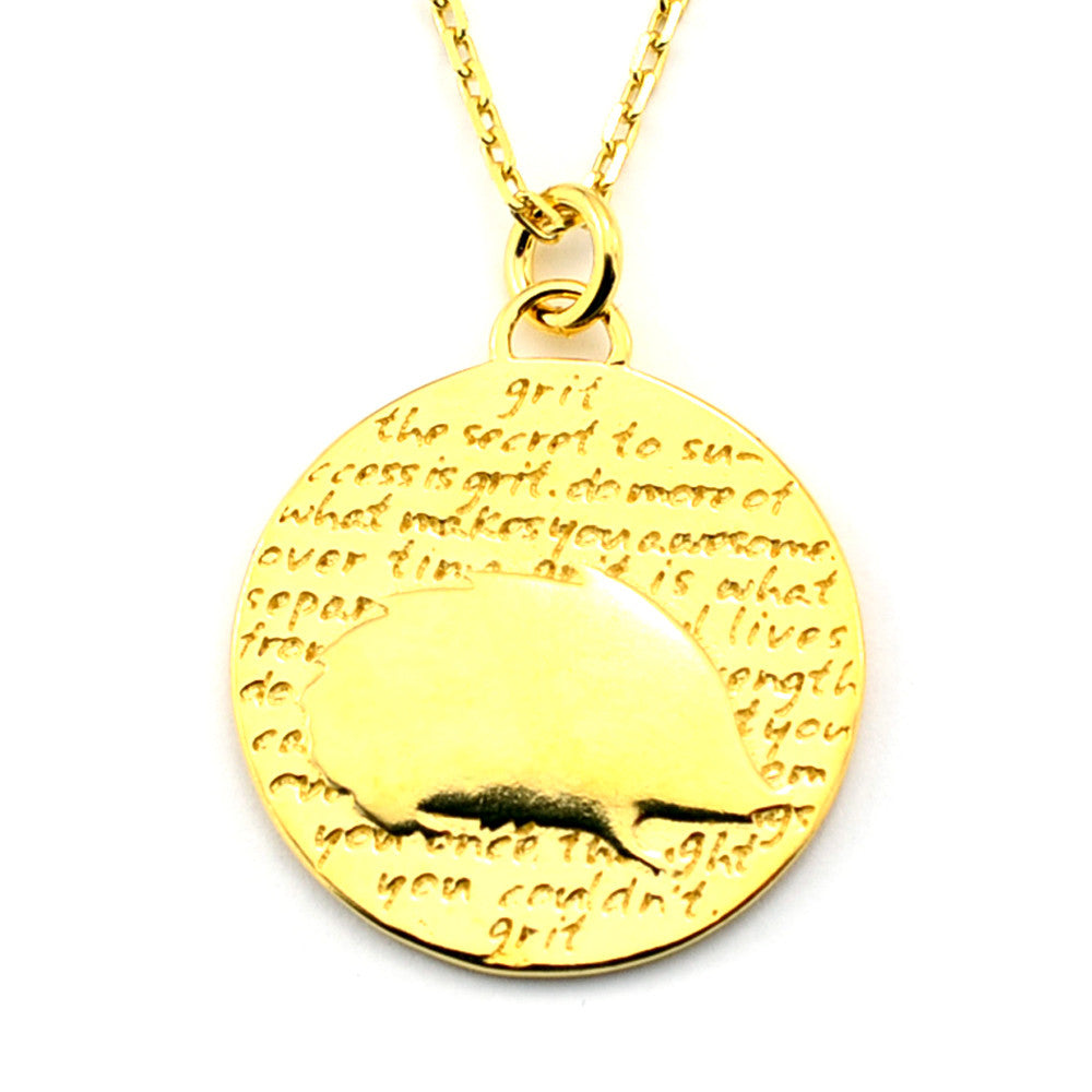 Hedgehog Gold Vermeil Sterling Silver Large Pendant Necklace (Grit quote) - Kevin N Anna