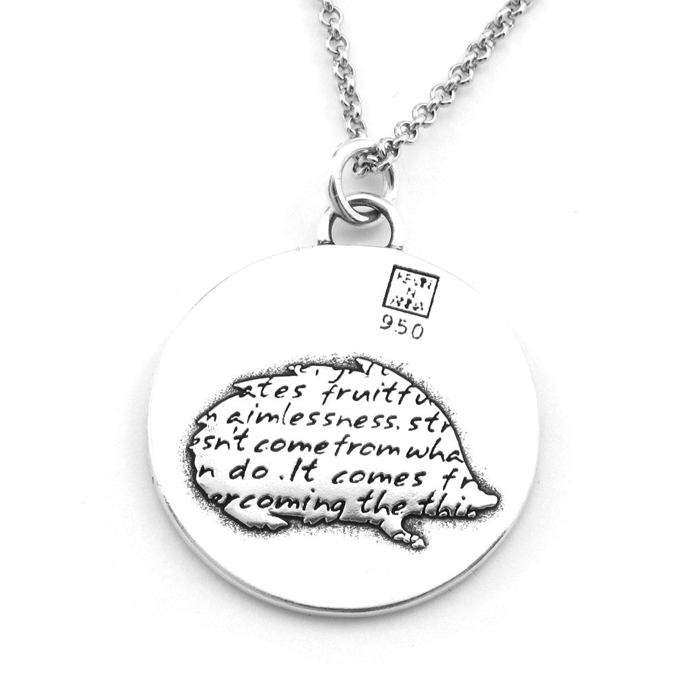 Hedgehog Sterling Silver Large Pendant Necklace (Grit quote) - Kevin N Anna