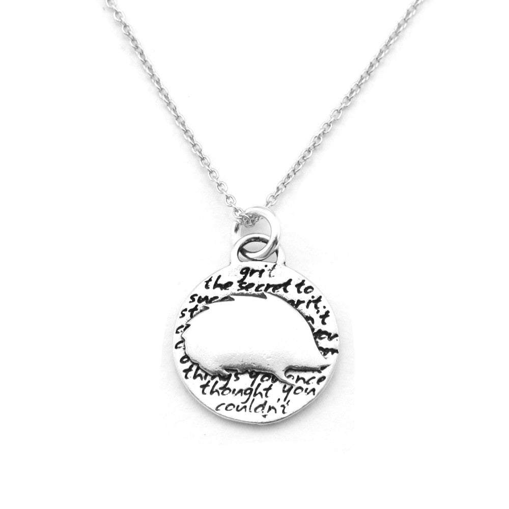 Hedgehog Sterling Silver Small Pendant Necklace (Grit quote) - Kevin N Anna