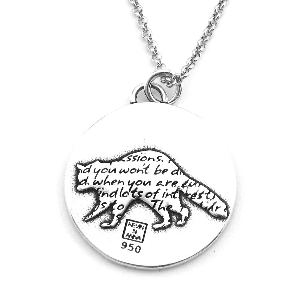 Raccoon Sterling Silver Large Pendant Necklace (Curiosity quote) - Kevin N Anna
