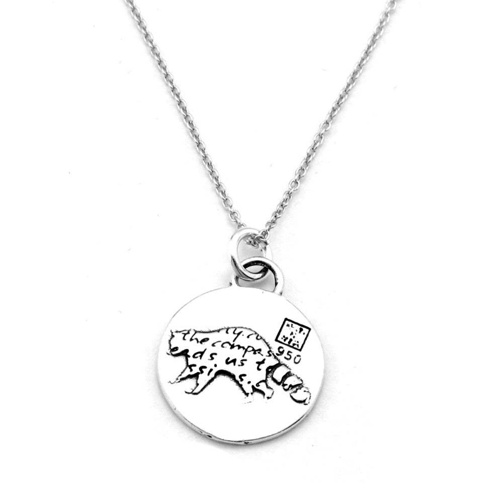 Raccoon Sterling Silver Small Pendant Necklace (Curiosity quote) - Kevin N Anna