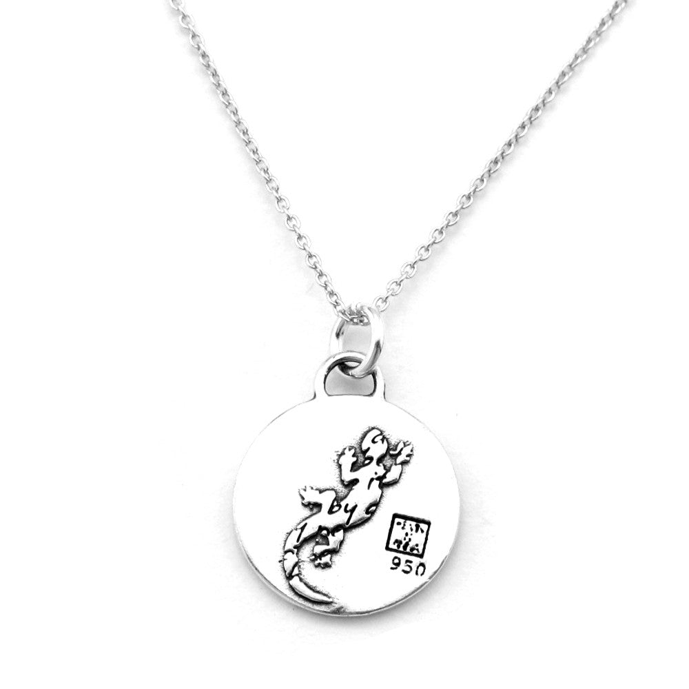 Lizard Sterling Silver Small Pendant Necklace (Change quote) - Kevin N Anna