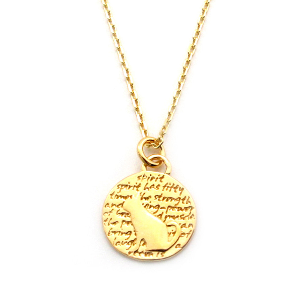 Cat Gold Vermeil Sterling Silver Small Pendant Necklace (Spirit quote) - Kevin N Anna