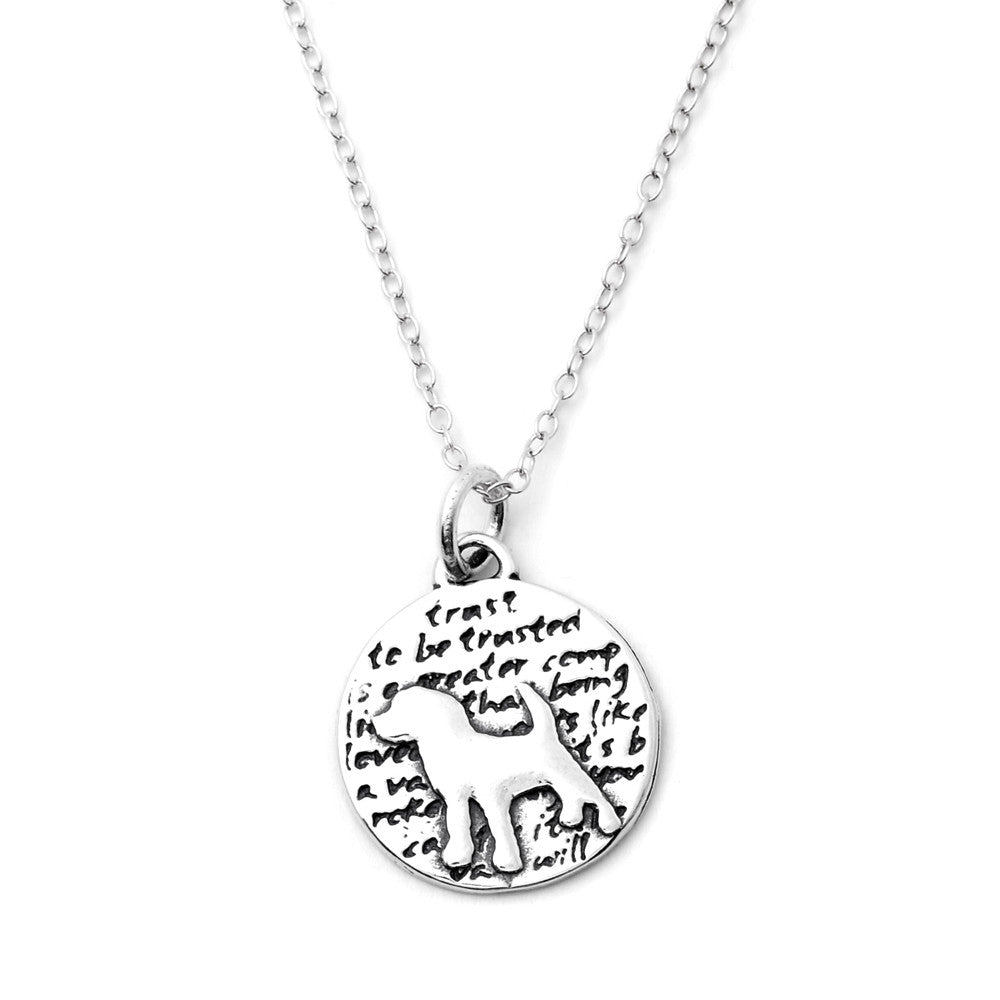 Dog Sterling Silver Small Pendant Necklace (Trust quote) - Kevin N Anna
