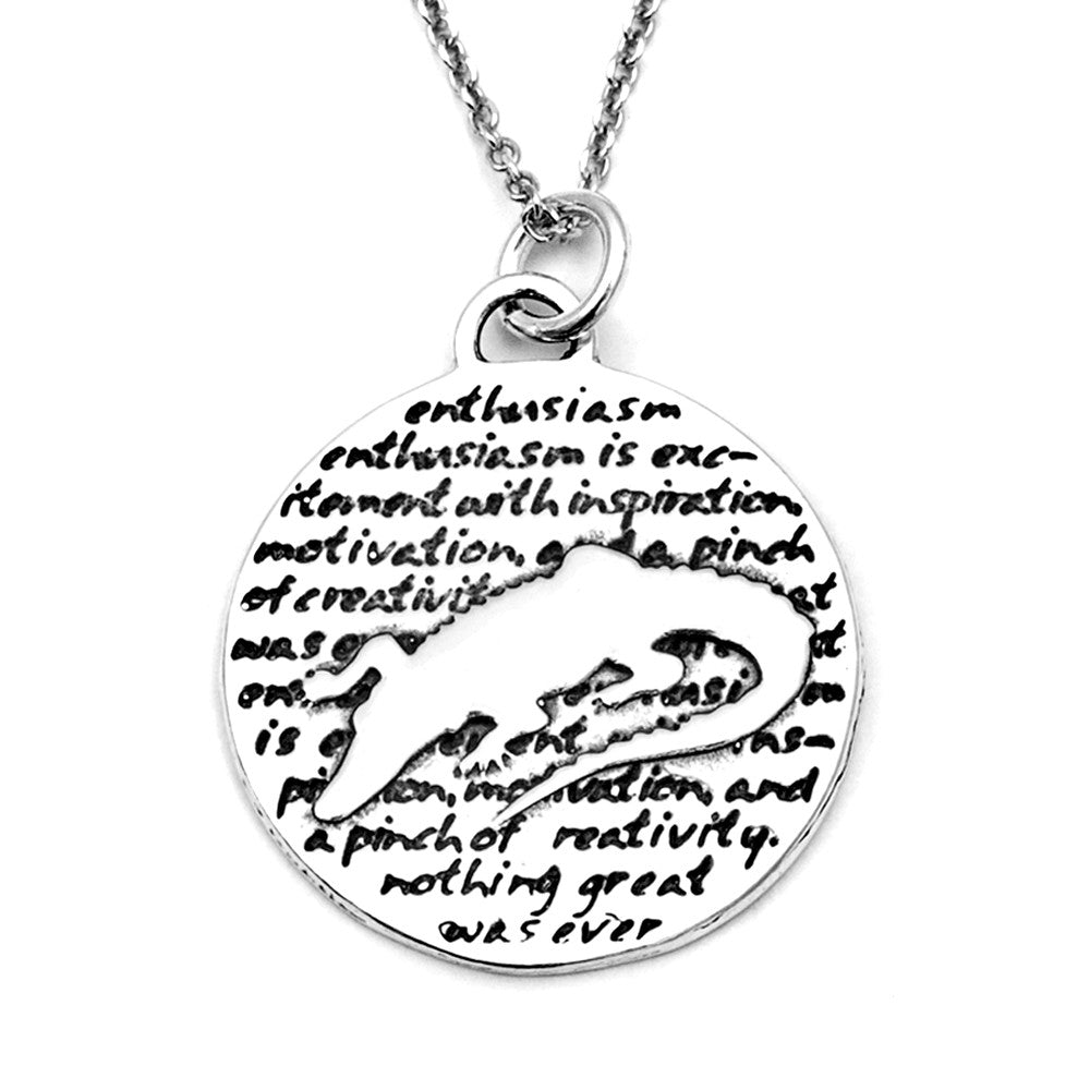 Alligator Sterling Silver Large Pendant Necklace (Enthusiasm quote) - Kevin N Anna