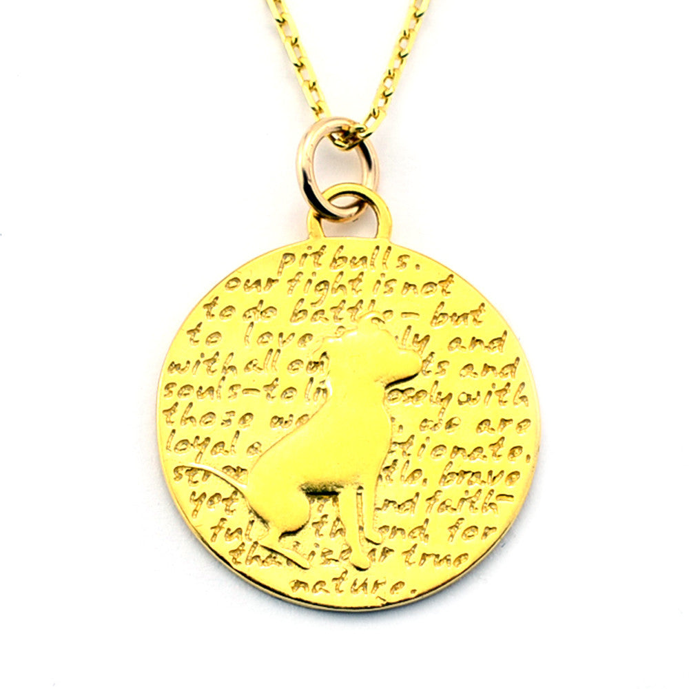 Pitbull Gold Vermeil Sterling Silver Large Pendant Necklace (Pitbull quote) - Kevin N Anna