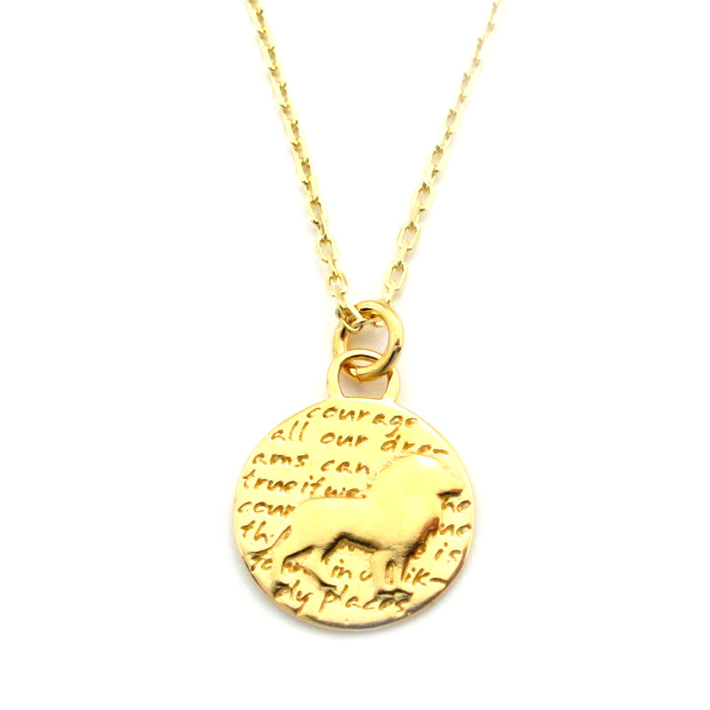 Lion Gold Vermeil Sterling Silver Small Pendant Necklace (Courage quote) - Kevin N Anna