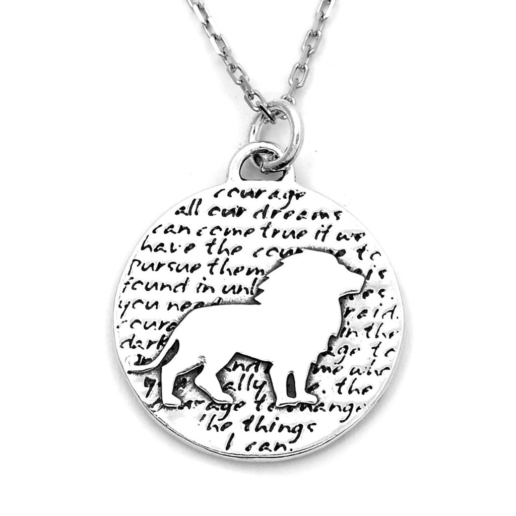 Lion Sterling Silver Large Pendant Necklace (Courage quote) - Kevin N Anna