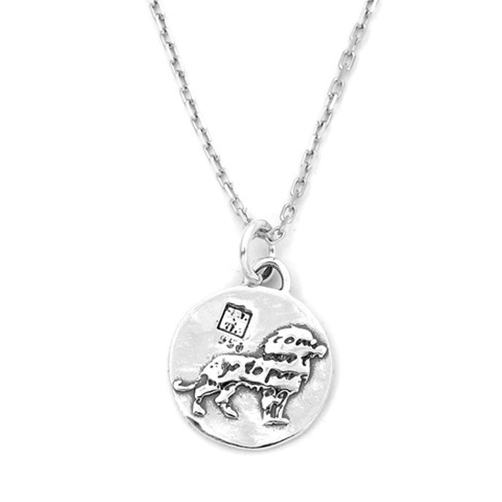 Lion Sterling Silver Small Pendant Necklace (Courage quote) - Kevin N Anna