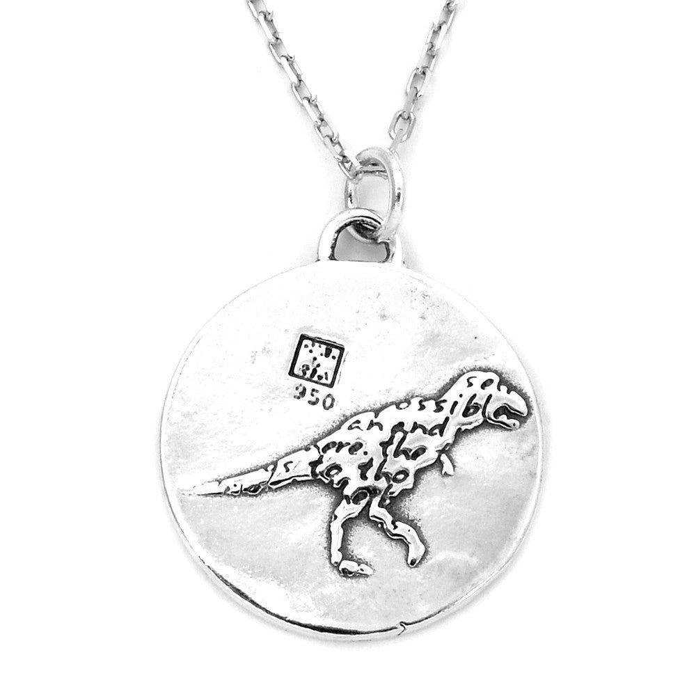 Dinosaur Sterling Silver Large Pendant Necklace (Believe quote) - Kevin N Anna