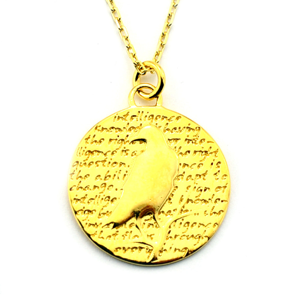 Raven Gold Vermeil Sterling Silver Large Pendant Necklace (Intelligence quote) - Kevin N Anna