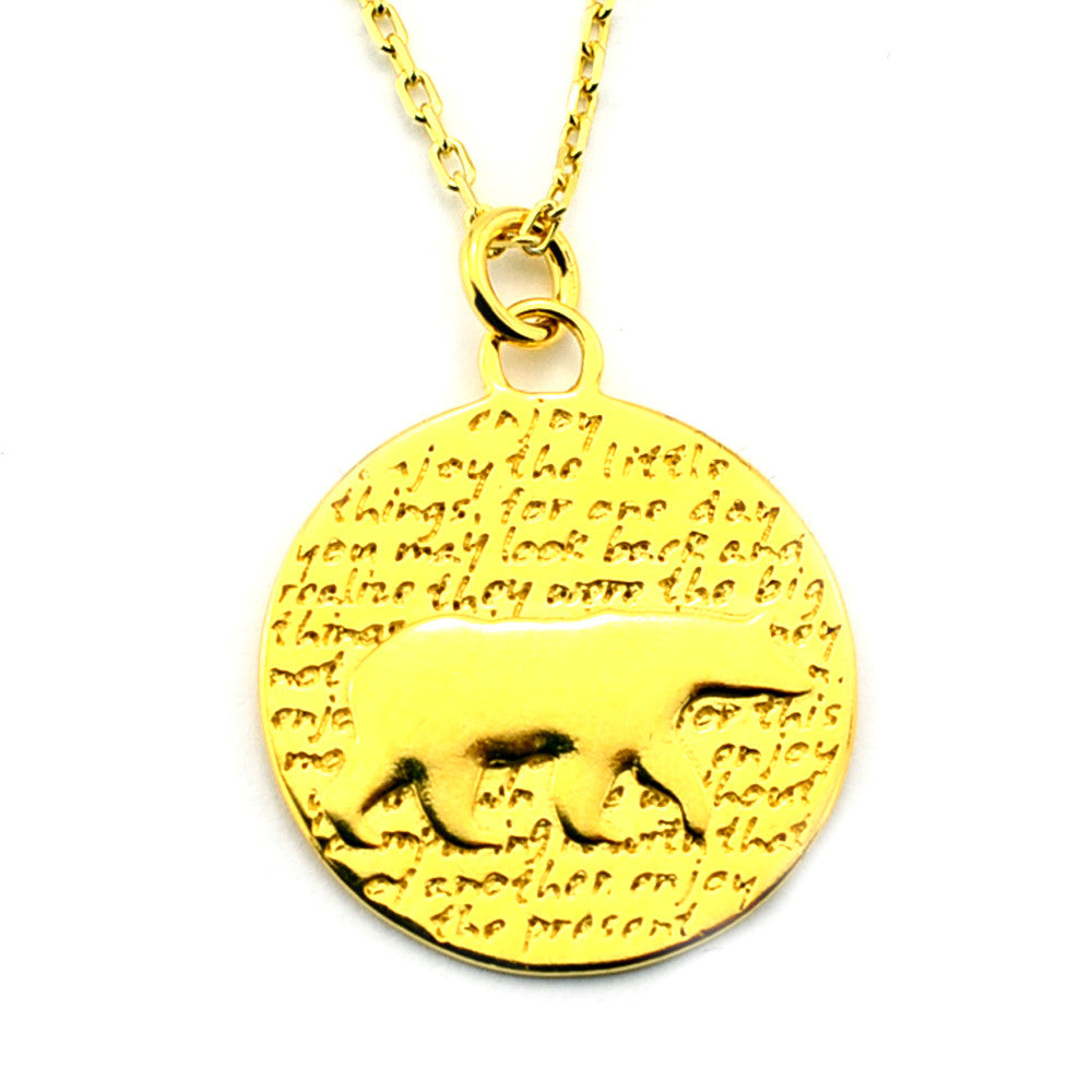 Bear Gold Vermeil Sterling Silver Large Pendant Necklace (Enjoy quote) - Kevin N Anna