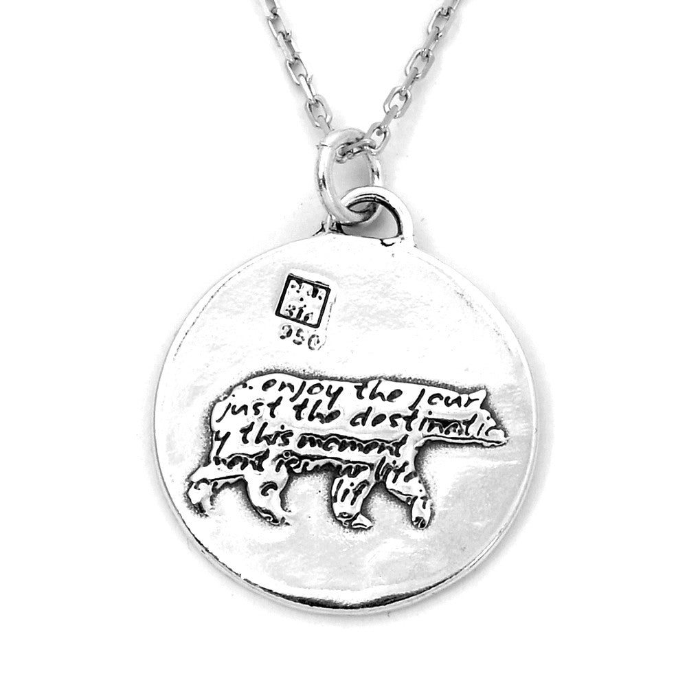 Bear Sterling Silver Large Pendant Necklace (Enjoy quote) - Kevin N Anna