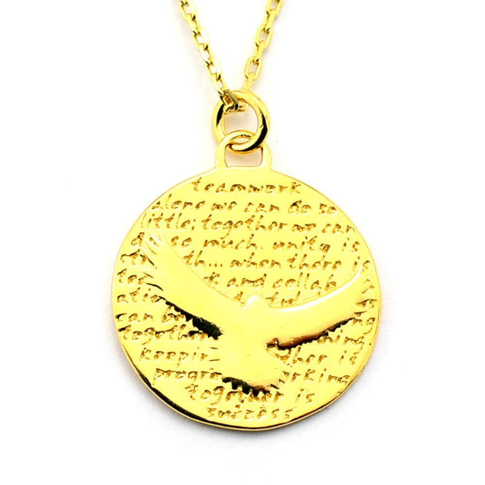 Sea Hawk Gold Vermeil Sterling Silver Large Pendant Necklace (Teamwork quote) - Kevin N Anna
