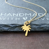 Gold Palm Tree Necklace-FT01G - Kevin N Anna