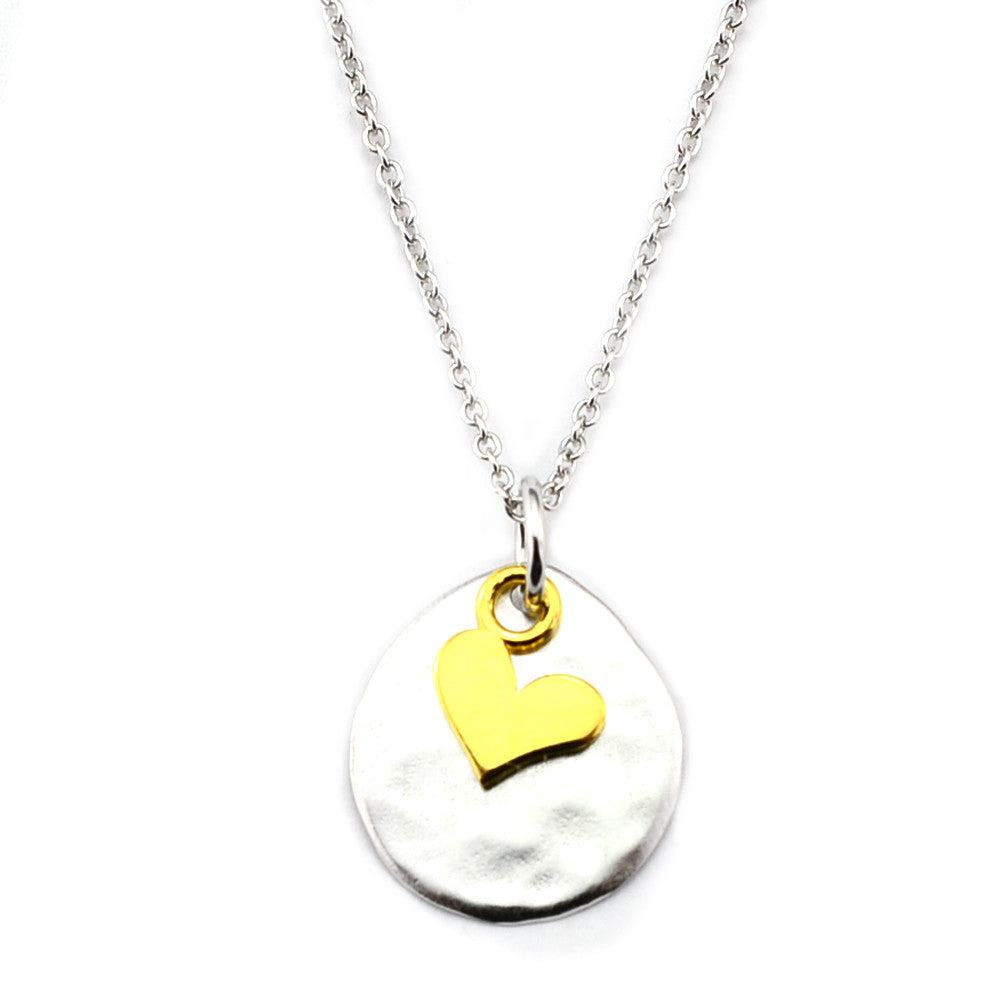 Heart Vermeil Sterling Silver Disc Pendant Necklace-#M17 - Kevin N Anna