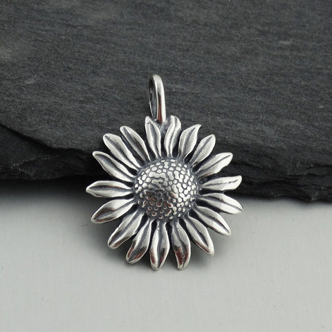 Flower with Stem/Leaves Charm-7640