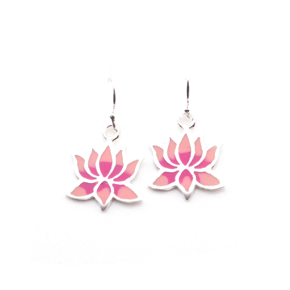 Lotus Sterling Silver and Resin Dangle Earrings - Kevin N Anna