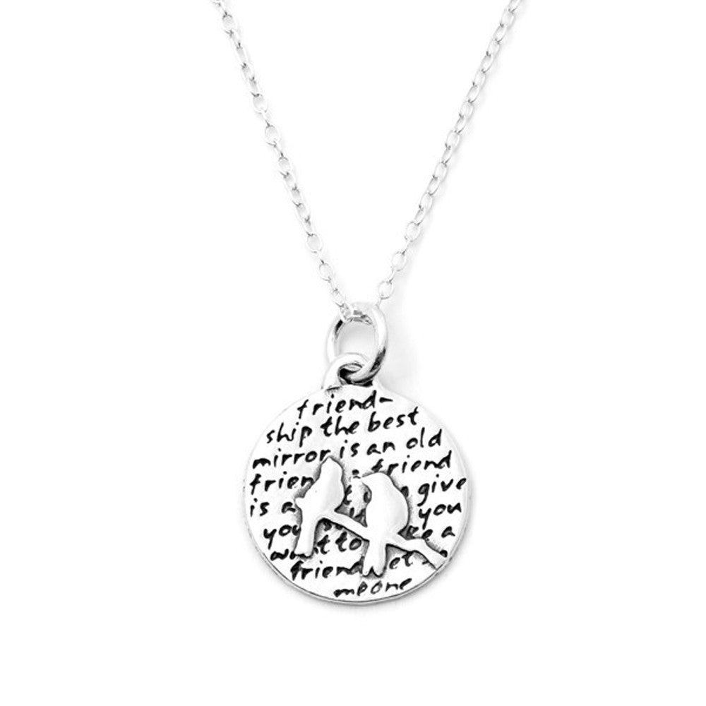 Birds Sterling Silver Small Pendant Necklace (Friendship quote) - Kevin N Anna