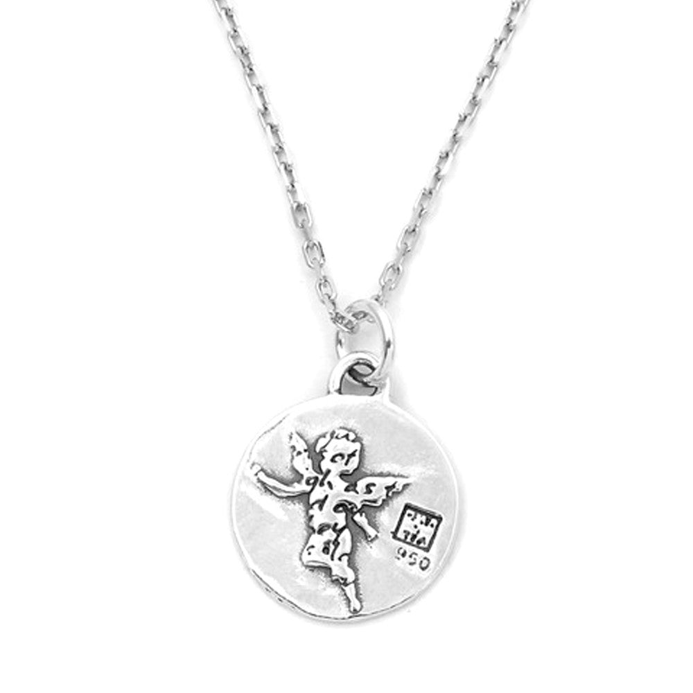 Angel Sterling Silver Small Pendant Necklace (Guardian quote) - Kevin N Anna