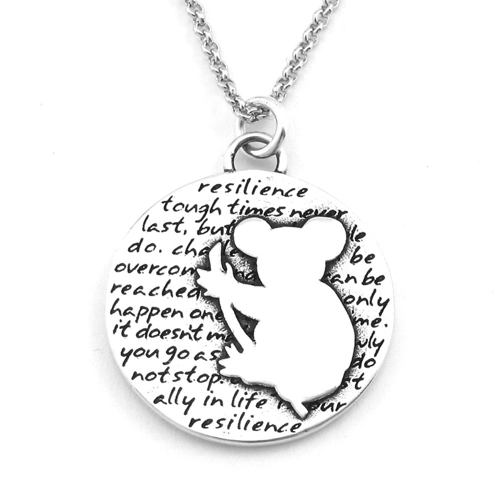 Koala Sterling Silver Large Pendant Necklace (Resilience quote) - Kevin N Anna