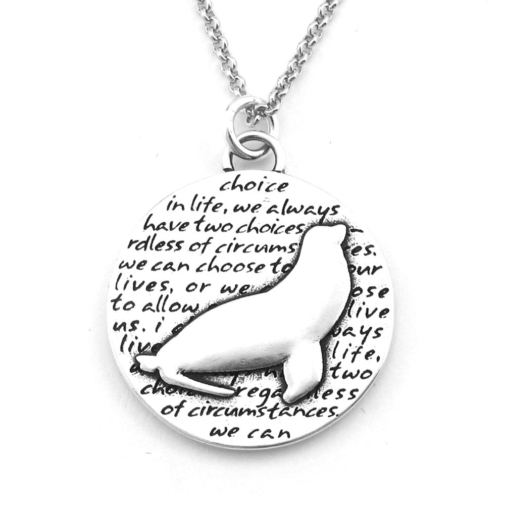 Sea Lion Sterling Silver Large Pendant Necklace (Choice quote) - Kevin N Anna